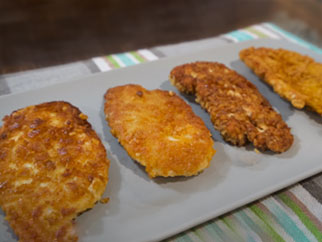 Breaded Chicken Standoff on Griddle Top