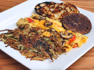 Omelette & Hash Browns on Griddle Top